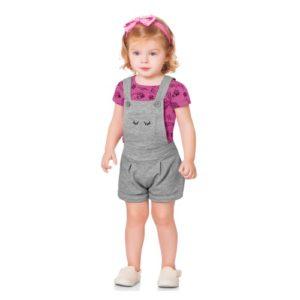 Conjunto Infantil </br> Jardineira Bubblegum Fakini